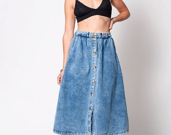 The Vintage Denim Button Up A Line Skirt