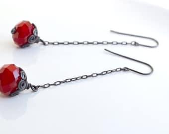 Dark Red Long Drop Crystal Earrings