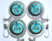 Retractable Badge Reel - Personalized Dragonfly Badge Holder in Turquoise and Brown Damask, Nurse Badge Reel (A113)