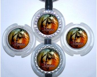 Stethoscope Tag - Personalized Sunset White Horse Stethoscope Name Tag, Bottle Cap Stethoscope Id (A136)