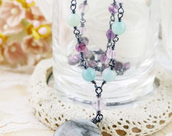 Focusing and confidence necklace - fluorite, and flower amazonite