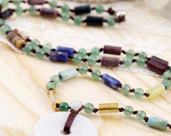 PingAnKou oriental unisex necklace (DN) - Chinese jadeite, aventurine and multi stone