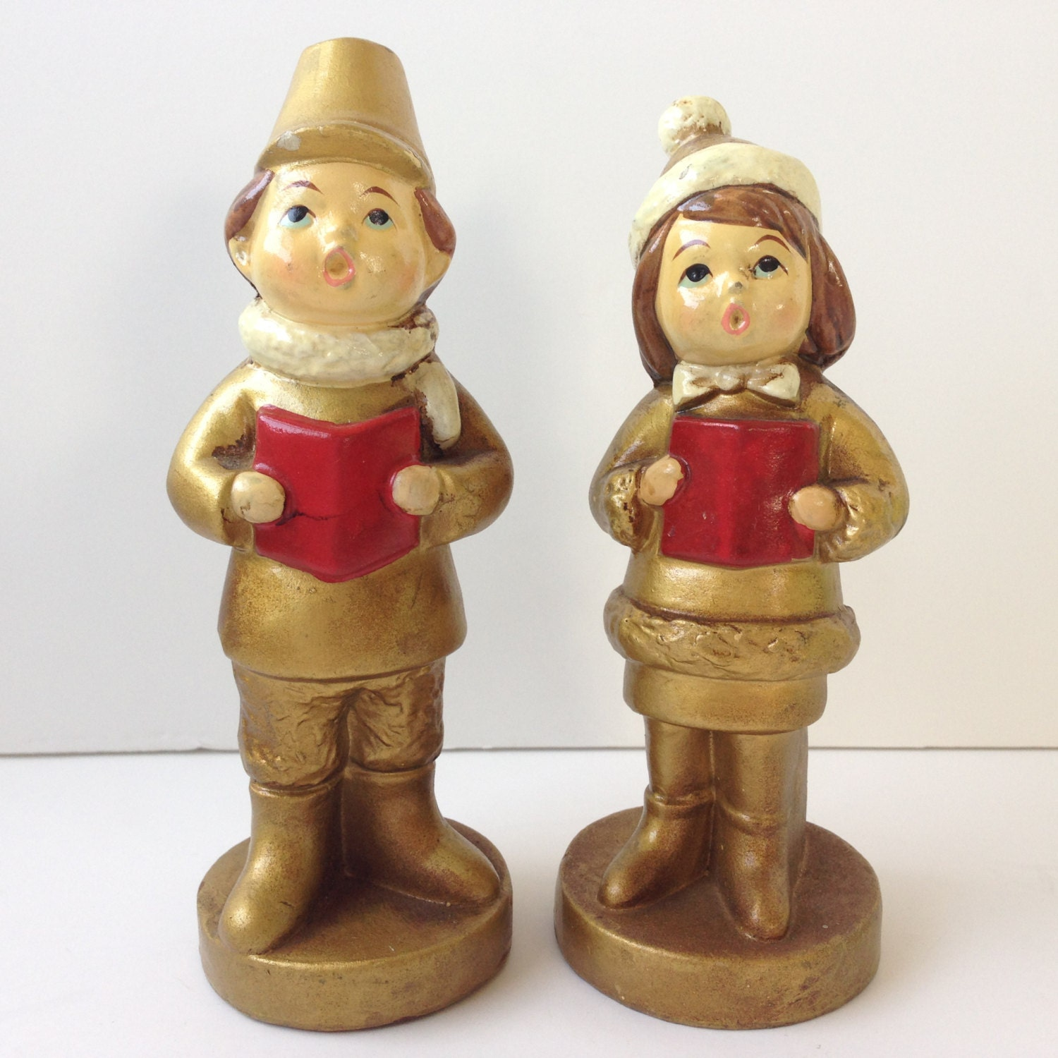 Singing Carolers Candleholders Figurines Vintage By: Christmas Caroler Figurines Set Of Two