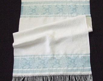 Fringed Linen Damask Towel Blue Flowers