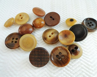 16 Antique Vegetable Ivory Buttons - Early 1900s Vintage Tagua Nut