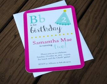 Children's Alphabet Birthday Party Invitations -- Children's Birthday -- Alphabet Birthday Invitation