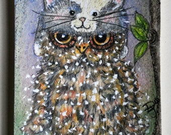 Illustration of whimsical cute owl wearing furry children's cat hat, collectable artist trading card.