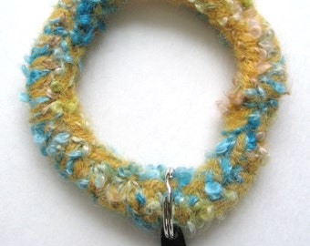 Gold and Turquoise Keyring Bracelet Wool Hand Knitted and Felted