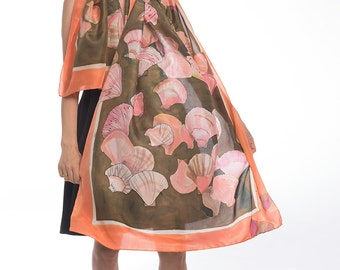 "Seashells Silk Scarf. Hand painted silk scarf shawl. Coral orange Summer scarves/ Luxury handpainted shawl 35""x71""/ Unique handmade scarves"
