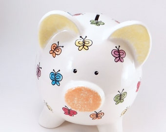 Bright Butterfly Piggy Bank  - Butterfly Ceramic Bank - Girls Personalized Piggy Bank - Kids Piggy Bank - with hole or NO hole in bottom