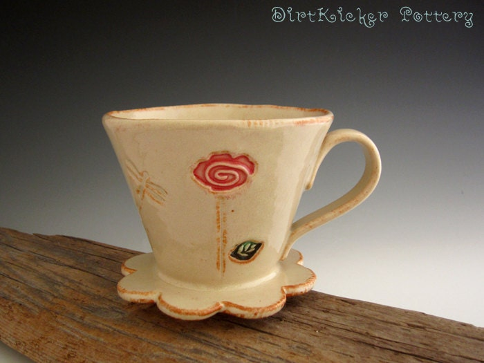 Coffee Maker That Doesnot Drip When Pouring : Pour Over Drip Coffee Maker Pottery Pour by DirtKickerPottery
