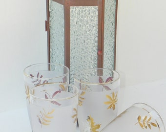 Libbey Gold Leaf 12 ounce Tumblers 12 Ounce Set Of (4) Circa 1960's