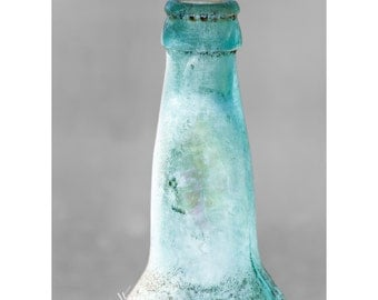 Aqua Bottle Fine Art Photography Minimal Wall Art Large 24x36 Iridescent vintage cloudy glass bottle quirky home art Aqua aged dusty style