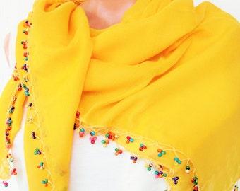 Summer Scarf , Yellow Boho Scarf ,Turkish Scarf - Yemeni Scarf  Traditional Scarf  Beaded   Scarf   Women Fashion  Accessories Gift Idea