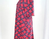 VTG 60s July 4th Plaid Dress42-Inch Chest Red White Blue Mod Peasant Oh Yes I DID Dress. Oversized, L, XL, Maternity. Scooter. sale.
