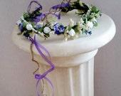 Wedding Bridal Flower Crown blue purple hair wreath cottage chic Wildflower garland AmoreBride hair piece Accessories silk artificial