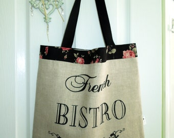 SALE Large Tote or Shopping Bag in a Shabby Chic Bistro Design