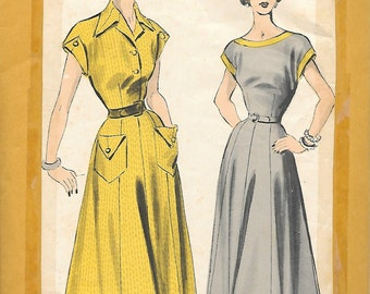 Advance 5113 - 1940s  Dress with Pocket Detail Unprinted Sewing Pattern Bust 34 Shirtwaist