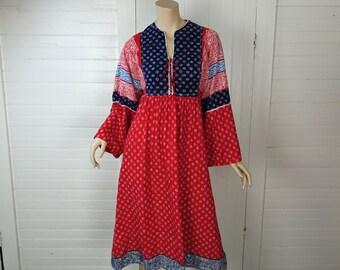 70s Festival Dress in Prairie Paisley- Boho / Hippie Maxi Dress- 1970s- Cotton- Bell Sleeves- Medium
