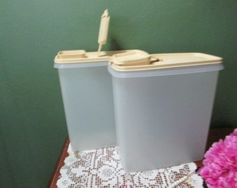 Tupperware Cereal Containers Set of 2 with Matching Beige Lids