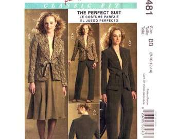 Jacket Skirt Pants Pattern McCalls 5481 Princess Seam Trouser Suit Womens Wardrobe Sewing Pattern Size 8 10 12 14 UNCUT