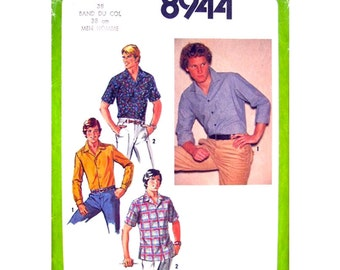 Mens 1970s Vintage Shirt Pattern Simplicity 8944 Chest 38 Long or Short Sleeves UNCUT