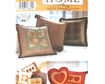 Chenille Pillow Pattern Simplicity 9044 Home Decor Square Rectangle Heart Pillows