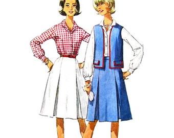 1960s Shirt Jacket & Inverted Pleat Skirt Pattern Simplicity 5931 Vest Womens Sewing Pattern Size 16 UNCUT