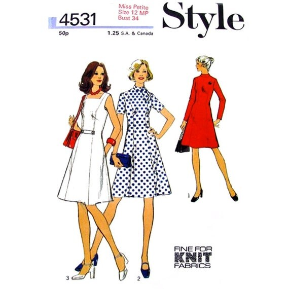 Vintage 70s Dress Sewing Pattern Style 4531 Bias Collar Tie or Square Neck Women Size 12 P