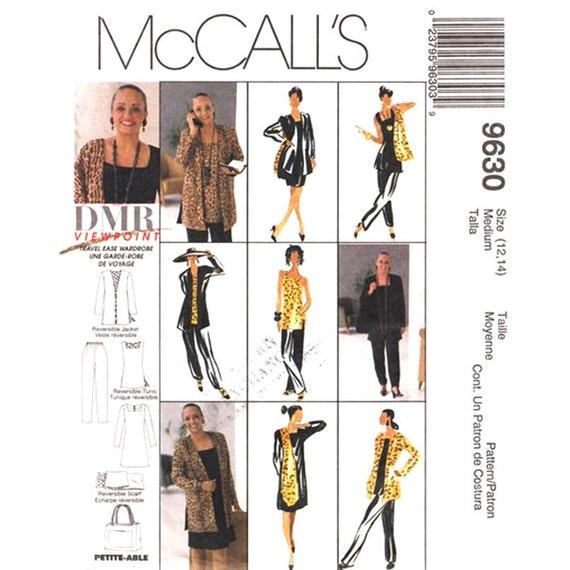 McCalls 9630 Cardigan Tunic Scarf Dress Pants Tote Sewing Pattern Womens Size 12 14