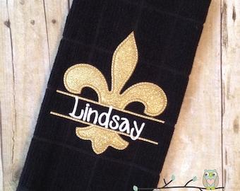 Fleur de Lis Dish Towel - Personalized, Monogrammed, Applique