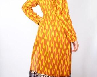Vintage Giraffe Ethnic BORDER PRINT Traditional Churidar Salwar Kameez Tunic Dress // Vintage Maxi Dress (sz xS S M 0 2 4 )