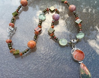 SEPTEMBER SONG Necklace (Unakite, Prehnite, Crab Fire Agate, Sunstone, Sterling Silver)