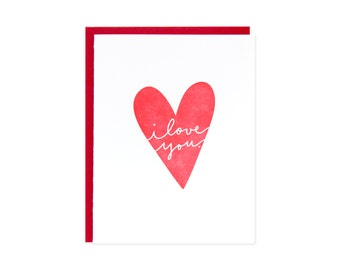 I Love You Heart Letterpress Card