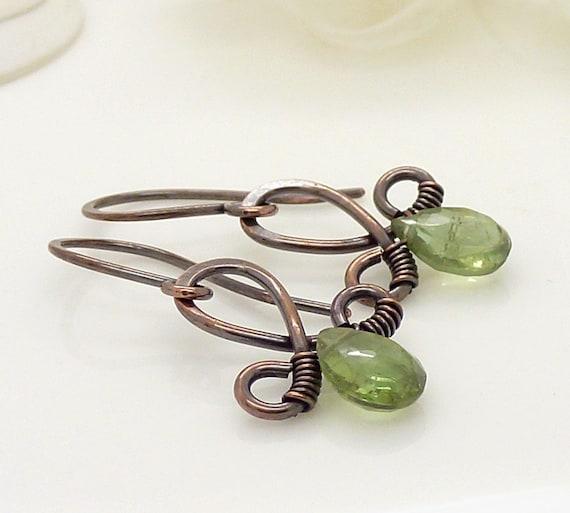 Green peridot earrings, olive green earrings, copper wire wrap jewelry, copper earrings