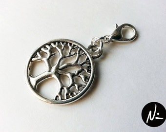 Silver Plated Tree of Life Zipper Pull - Clip-On Charm (MISC046)