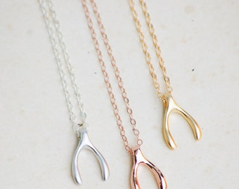 Wishbone Necklace, Rose Gold Wishbone, Wishbone Jewelry,  Make a Wish, Lucky Charm, Gold Sterling Silver, Gift for Her, Tiny Wishbone