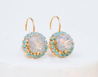 Opal & Turquoise Earrings CRYSTAL Swarovski Opal Wedding Jewelry Vintage Earrings Bridesmaid Gift