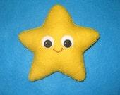 Starfish Plush - Felt Beaded Starfish - Under the Sea - Yellow Star Decor - Nautical Cute Decor - Star Decoration - Valentines Day Gift