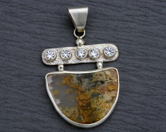 Graveyard Point Plume Agate Pendant, Sterling Silver with Cubic Zirconia