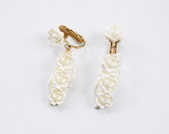 Carved White Flower Earrings / Floral Clip Ons