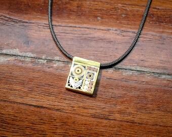 "Geometric Patterned Chevron Square 0.5"" Pendant Necklace Jewelry"