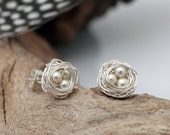 Mini bird's nest and eggs silver plated stud earrings with Swarovski pearl beads- great bridal jewellery- bird nest available to personalize