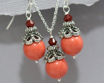 Coral Bridesmaid Jewelry Set, Swarovski Coral Pearl and Red Coral Crystal Jewelry Set, Bridesmaid Jewelry Set, Coral Pearl Bridesmaid Gift