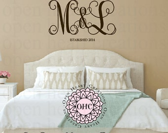 Couple Two Initial Monogram with Ampersand and Established Year Family Name Vinyl Wall Decal for Master Bedroom Home – 22h x 36w FN0609