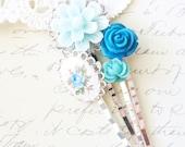 Garden Flower Hair Pin Set - Bobby Pin Set - Wedding - Bridal - Bridesmaid - Rose - Vintage Limoges - Flowers - Something Blue