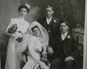 Antique Cabinet Photo Matted-Bride-Groom-Wedding Party-Dress-Veil-St.Louis,MO
