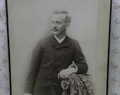 Rare Large 7x10 Antique Cabinet Photo-Dapper Man-Walking Stick-Fashion-Backstamp-Brattleboro,VT