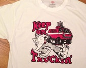 Vintage 1973 keep on trucking love wagon transfer on a new T-shirt