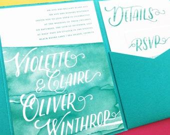 Wedding Invitations, Watercolor Wedding Invite, Pocket Invitation, Pocket Fold Invitation, PocketFold Printed Wedding Invites